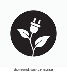 Green energy icon, ecology vector flat icon. Flat style sign for mobile concept and web design.