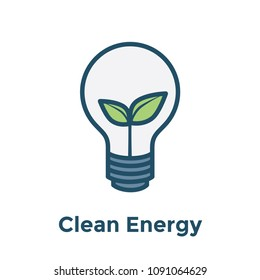 Green Energy icon illustrating recyclable lightbulb / clean energy solution