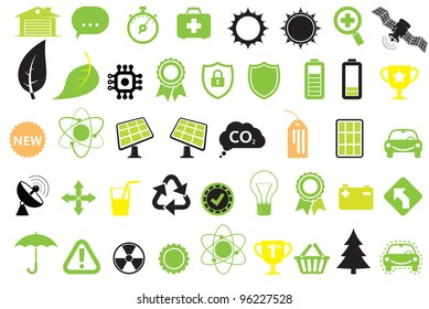 Green energy icons, concept of energy saving, ecology and technologies