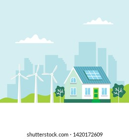 Green energy illustration with a house, solar panels, wind turbines, city background, copy space. Concept illustration for ecology, green power, wind energy, sustainability