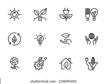 Green energy line icons. Set of line icons on white background. Environment concept. Ecology, planet, leaf, safety. Vector illustration can be used for topics like nature, environment, planet