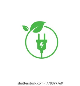 Green energy logo or icon vector design template with electric plugs and leaves
