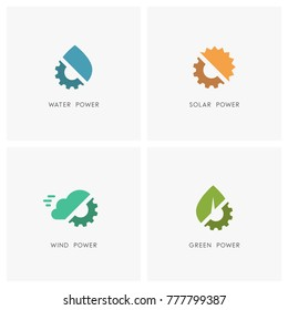 Green energy logo set. Drop of water, the sun, cloud, leaf and gear wheel or pinion symbol - solar, wind and hydro power, industry, ecology and environment icons.