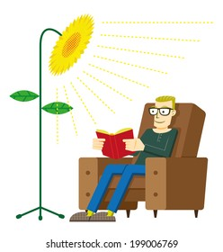 Green Energy. Man reading a book in his chair with light like a sunflower, meaning energy from ecological sources.