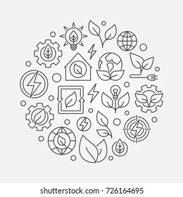 Green energy outline illustration. Vector round bio energy concept symbol made with thin line icons