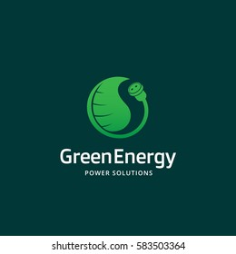 Green Energy Power Solutions Abstract Vector Sign, Emblem or Logo Template. Socket and Leaf Creative Concept. Plug and Plant Silhouette. On Green Background.