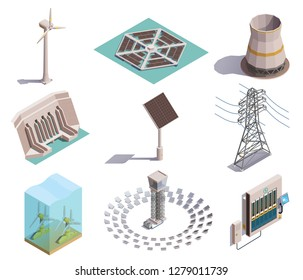 Green energy production isometric icons set with wind tidal power generators solar station hydroelectric plant vector illustration