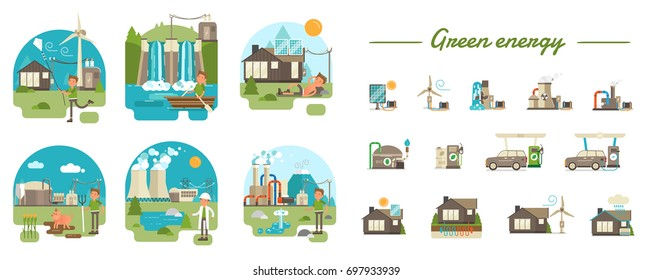 Green energy production types. Full illustrated scenes showing the main process and illustrated icons for using in web, info graphics or any other visual materials.