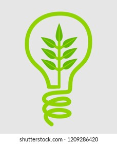 Green energy saving lamp illustrative icon in vector graphics