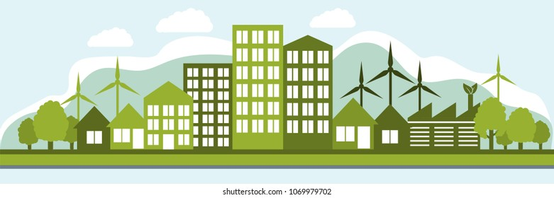 Green energy, the silhouette of an eco-friendly city using renewable energy 2