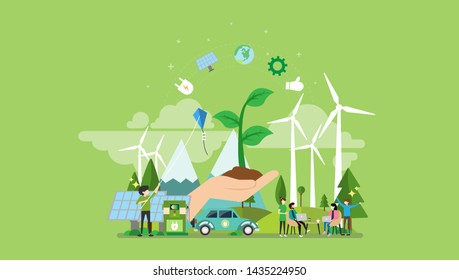 Green Energy Tiny People Character Concept Vector Illustration, Suitable For Wallpaper, Banner, Background, Card, Book Illustration, Web Landing Page, and Other Related Creative