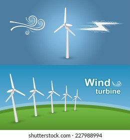 Green energy transformation with a wind turbine. Wind-powered electrical generators on a green field.