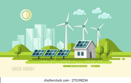 Green energy, urban landscape, ecology. flat design vector concept illustration.