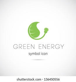 Green energy vector symbol icon or Logo Template