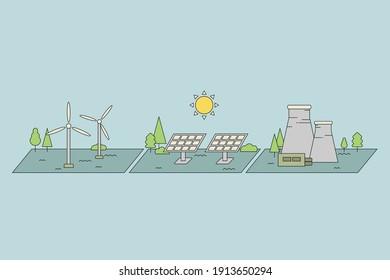 green energy. wind energy vector illustration. green alternative power. solar cell energy.