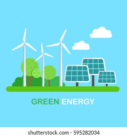 Green energy windmills and solar panels on grass. Flat style vector illustration clipart.