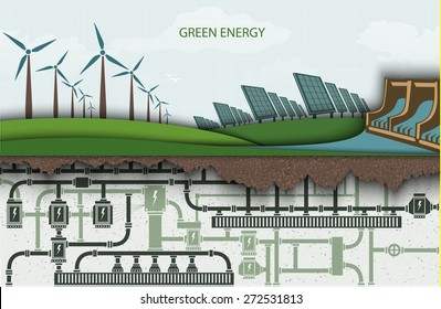 green energy. Wind-powered electricity with solar panels and hydroelectric power plants. RENEWABLE ENERGY