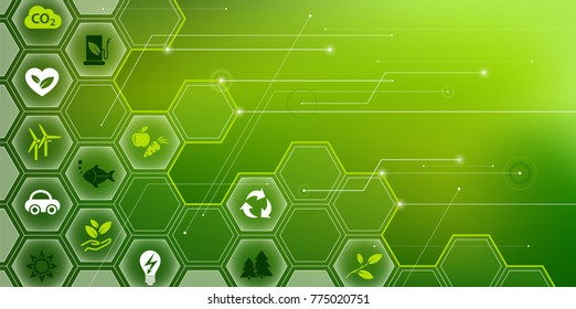 green & environmentally friendly technology vector