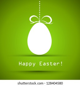 green ester card with egg, easter and spring cocnept,