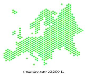 Green Europe map. Vector hex-tile territory scheme in green color hues. Abstract Europe map collage is designed with hex tile spots.