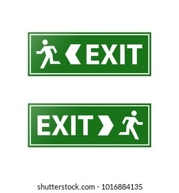 Green exit signs stock vector