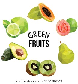 Green exotic fruits. Set of tropical fruits in low poly style, polygonal. Abstract illustration, food, summer dessert. Juice. - Vector