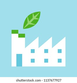 Green factory, Flat icon of clean energy and save environmental concept