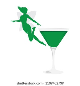 green fairy and cocktail, logo elements