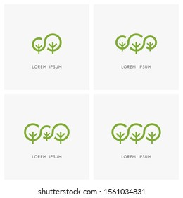 Green family logo set. Big tree and small plant or sapling symbol - ecology and environment, nature reserve, national park and forest conservation icons.