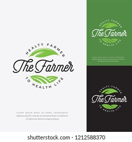 Green farmer logo vector, farm badge logo template