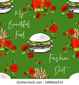 Green fast food seamless with hamburger, french fry and motivational texts. Stylish modern textile design. Vector fashion sketch. Green background. Vintage fabric print. Beautiful pattern