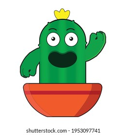 A Green fat Cactus with yellow flower on top say hi to you. Vector design.