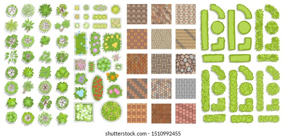Green fence, trees, bushes and flower beds. (Top view) Different plants and trees vector set for architectural or landscape design. (View from above) Set of vector street pavements.