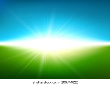 Green field with blue sky blurry background. Vector illustration.