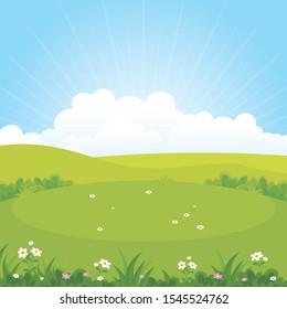 Green field or park with beautiful scenery landscape, suitable for kid background, cover, flyer with cartoon style