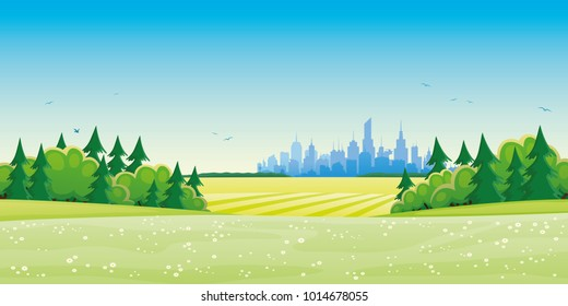 Green fields and city on the horizon.