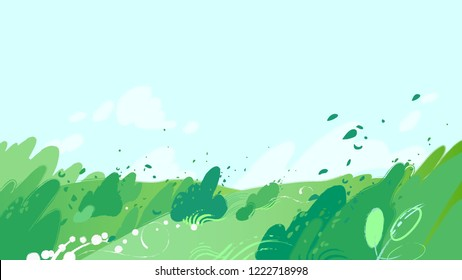 Green fields with strong wind blowing out leaves from the bushes and sky with clouds. Vector graphic