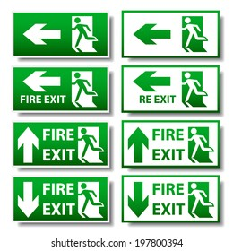 Green fire exit sign with shadow