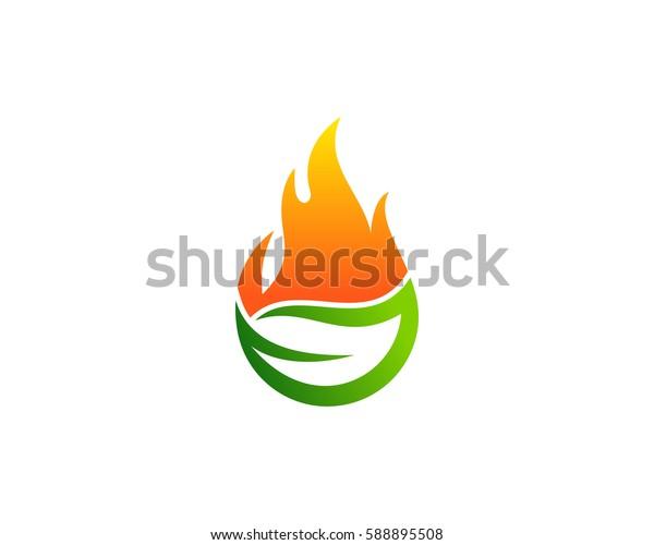 Green Fire Logo Design Element