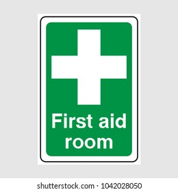 Green First Aid Room Sign.