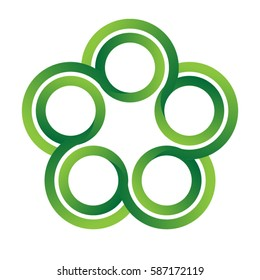 green five circles vector logo