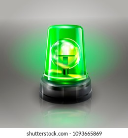 Green Flasher Siren Vector. Realistic Object. Light Effect. Beacon For Police Cars Ambulance, Fire Trucks. Emergency Flashing Siren. Gray Background vector Illustration