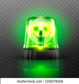Green Flasher Siren Vector. Realistic Object. Light Effect. Beacon For Police Cars Ambulance, Fire Trucks. Emergency Flashing Siren. Transparent Background vector Illustration