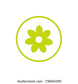 Green flat icon of camomile with curved sprig. Isolated on white. Vector illustration. Eco style. Nature flower  symbol.