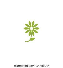 Green flat icon of camomile with sprig and leaf. Isolated on white. Vector illustration. Eco style. Nature flower  symbol.