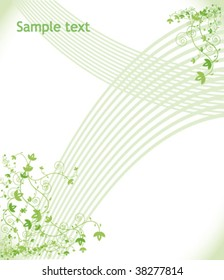 Green floral background. Vector.