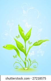 Green floral frame on a blue background