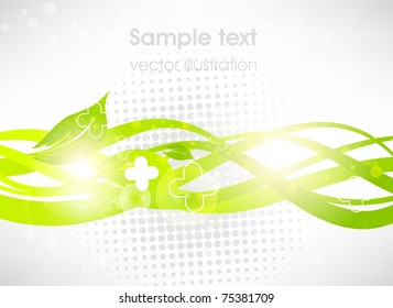 Green floral lines. Abstract vector background for summer fresh design