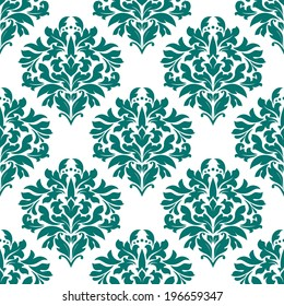 Green floral seamless pattern on white background for textile design