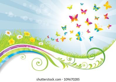 The green flower field with butterflies.